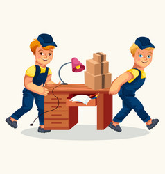 delivery team carrying desk and cartons poster vector image