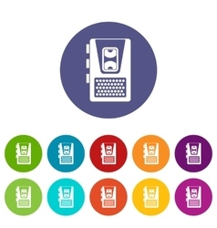 Dictaphone set icons vector image