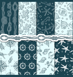 Different seamless patterns set of marine and vector
