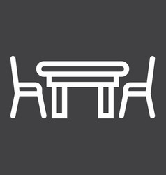 dining table line icon furniture and interior vector image