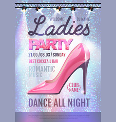 Disco ball background disco ladies party poster vector