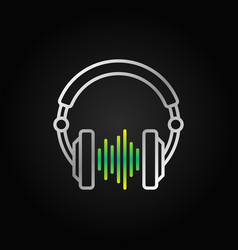 Dj headphones with green sound wave line vector