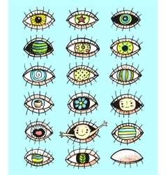 Eyes sketchy hand drawn doodle collection vector image vector image