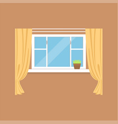 flat window with curtains on brown wall vector image