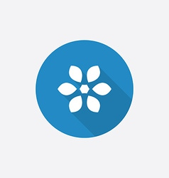 flower Flat Blue Simple Icon with long shadow vector image