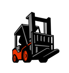 forklift truck low angle retro vector image