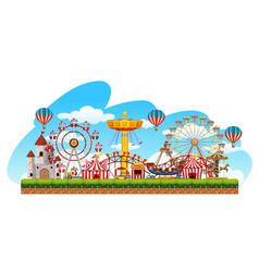 Fun fair amusement scene vector