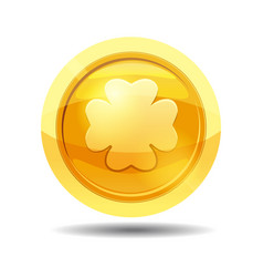 game coin with clover leaf game interface gold vector image