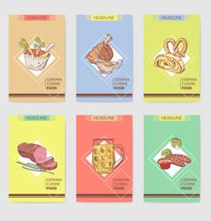 German traditional food hand drawn brochure vector