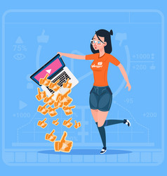 Girl hold laptop with thumb up modern video vector