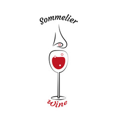 Glass of wine and sommeliers nose choice of wine vector