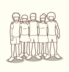 Group of children hugging outline vector