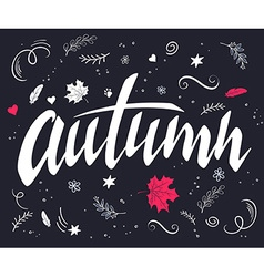Hand drawn autumn lettering with branches swirls vector