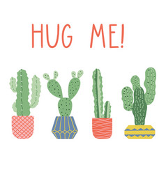hand drawn cacti print with funny lettering vector image