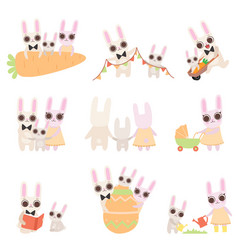happy family bunnies set father mother and vector image