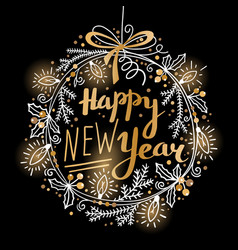 happy new year card festive wreath fir vector image