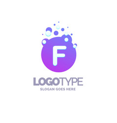 letter f bubbles logo purple template vector image