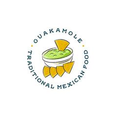 mexican restaurant logo guacamole and nachos vector image