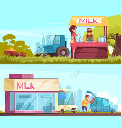 Milk horizontal banners set vector