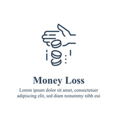 Money loss sunken cost concept financial debt vector