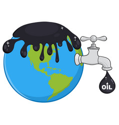 Oil pouring over earth vector