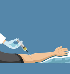 Patient hand and syringe vector