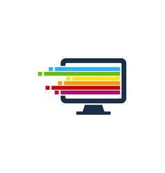 Pixel art computer logo icon design vector