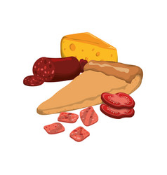Pizza pepperoni cheese ingredients vector
