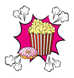 pop corn and donut vector image