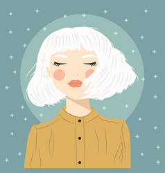 Portrait a girl with white hair and closed vector