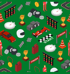 racing sport seamless pattern background isometric vector image