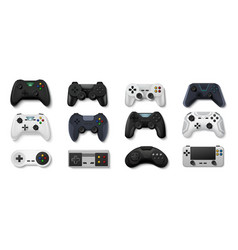 Realistic gamepads play console and pc games and vector