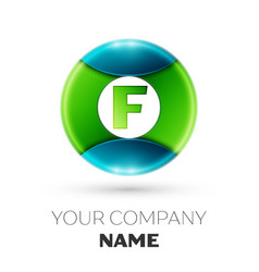 Realistic letter f logo symbol in colorful circle vector