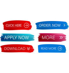 Red and blue painted web buttons isolated on white vector