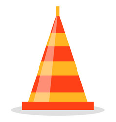 red and orange road cone flat sign used to vector image