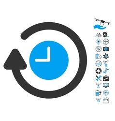 Repeat Clock Icon With Copter Tools Bonus vector