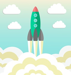 Rocket takes off and concept of startup business vector