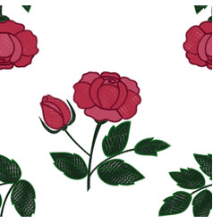 rose embroidery seamless pattern vector image
