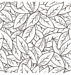 seamless abstract background with leaves in black vector image