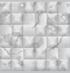 Seamless pattern white marble and 3d geometric vector