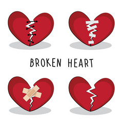 set broken heart it is about love vector image
