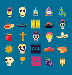 Set icons of day of the dead party vector