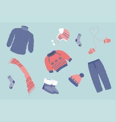set warm clothes vector image