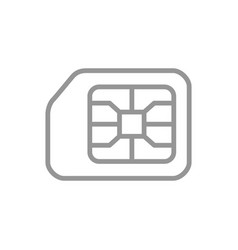 Sim card line icon digital chip mobile slot vector