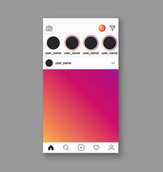 social media photo frame template mobile app ui vector image