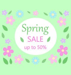 spring sale discount floral bacground text spring vector image