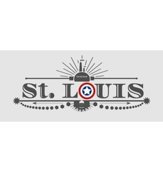 St Louis city name with flag colors vector image