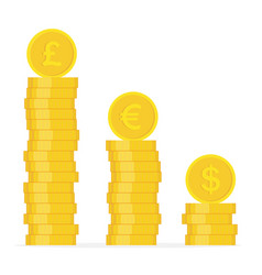 stack golden coin coins with images of vector image