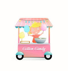 Street market vendor stand with cotton candy vector
