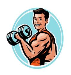 strong athletic man raises heavy dumbbells vector image
